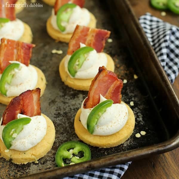 Jalapeno Corn Cakes with Honey Whipped Goat Cheese and Bacon from afarmgirlsdabbles.com