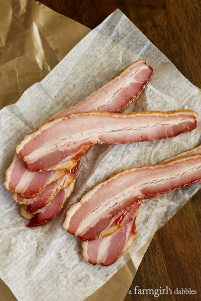 uncooked, thick-cut, double-smoked bacon