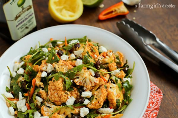 North African Cauliflower Salad with Charmoula Dressing from afarmgirlsdabbles.com