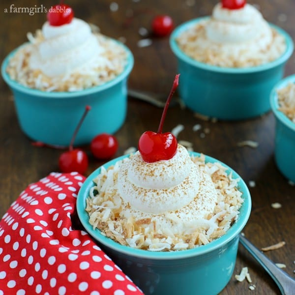 Individual Coconut Tres Leches Cake Cups from afarmgirlsdabbles.com