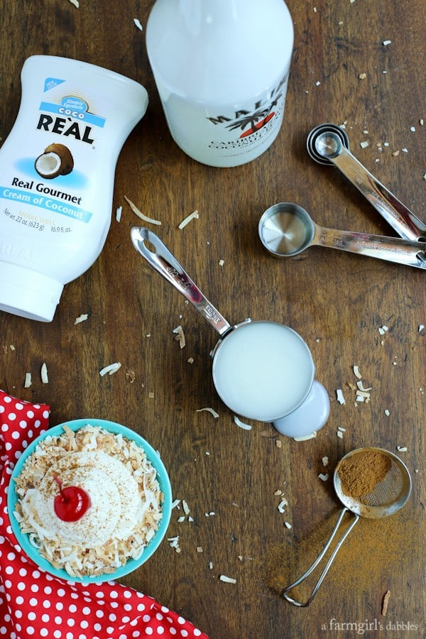 cream of coconut and malibu liqueur