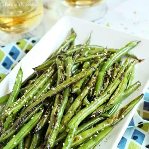 Blistered Teriyaki-Ginger Green Beans with sesame seeds