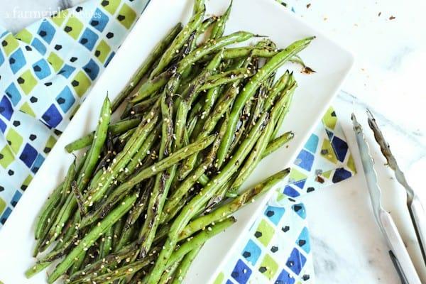 Blistered Teriyaki-Ginger Green Beans from afarmgirlsdabbles.com