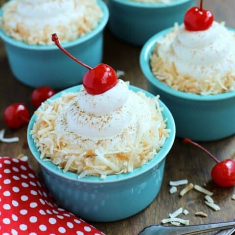 blue ramekins with coconut tres leches cakes