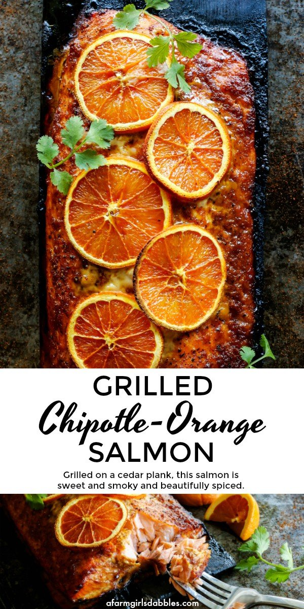 Grilled Chipotle-Orange Salmon from afarmgirlsdabbles.com - a beautiful grilled fillet of salmon is smoky and caramelized on a cedar plank - #salmon #orange #chipotle #cedarplank #grilling
