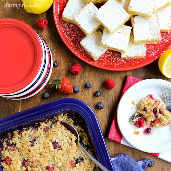Triple Berry Coconut Crisp + Lemon Bars from afarmgirlsdabbles.com