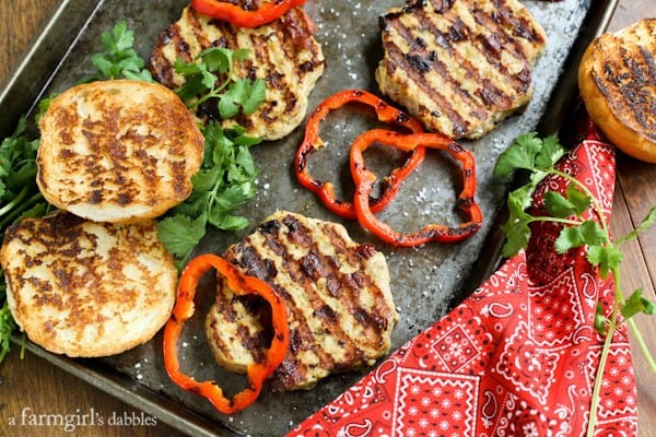 Grilled Chicken Burgers and bell peppers