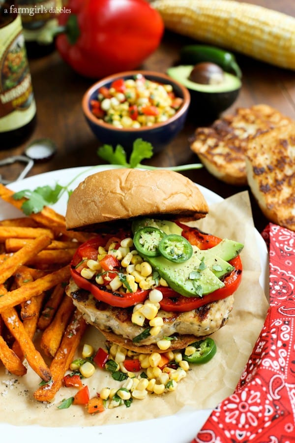 Grilled Chicken Burgers with sweet potato fries and corn relish