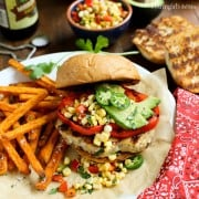 Grilled Tex Mex Chicken Burgers with Fresh Hot-Pepper Corn Relish