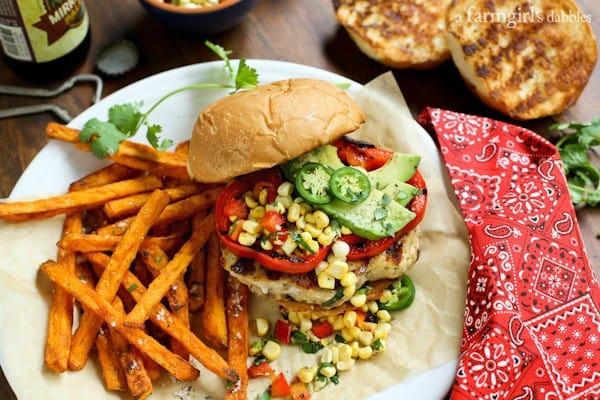 Tex Mex Chicken Burgers with Fresh Corn Relish
