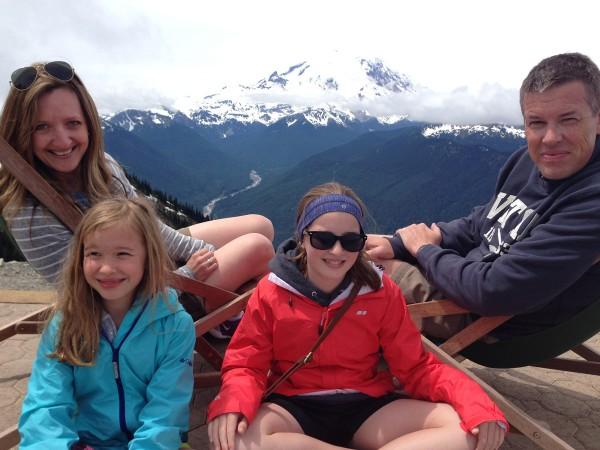 family photo at Mount Rainier National Park