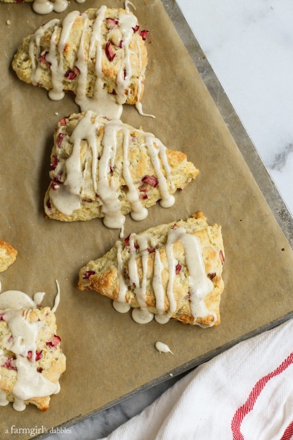 A view of fresh Lemon Rhubarb Scones from the top