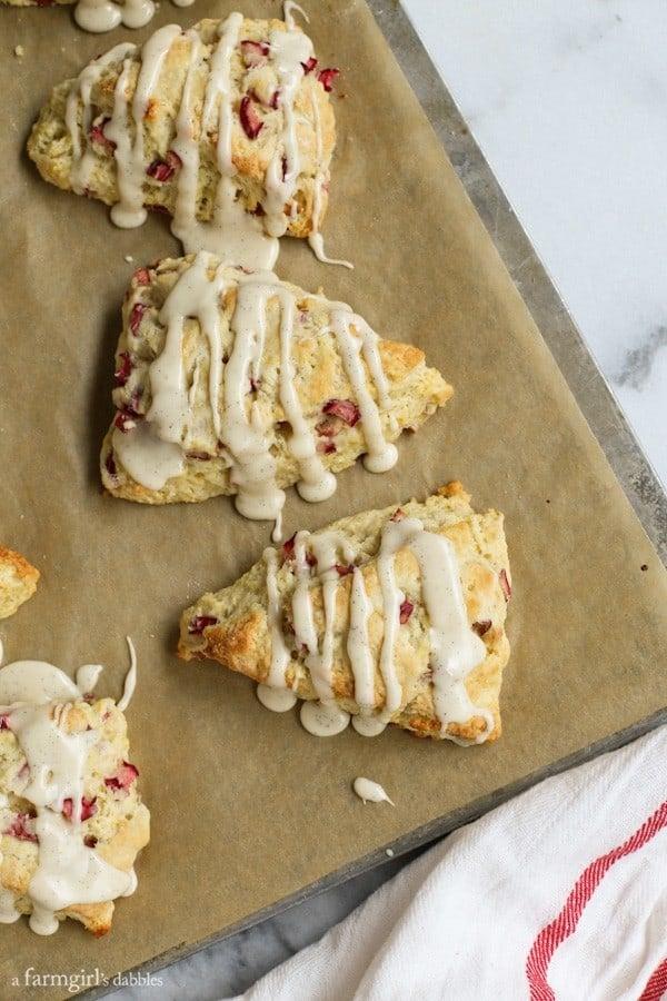 Lemon Rhubarb Scones with Vanilla Bean Glaze from afarmgirlsdabbles.com