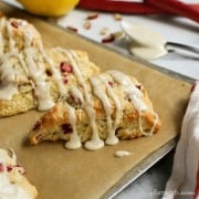 A close of shot of Lemon Rhubarb Scones on a baking pan