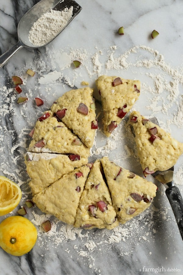 Raw Lemon Rhubarb Scones on a marble surface with flour