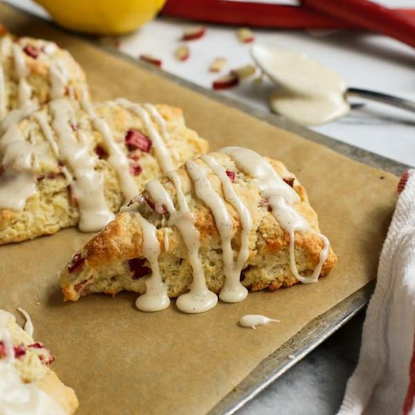 Strawberry Rhubarb Drop Scones A Recipe: Lemon Rhubarb Scones With Vanilla Bean Glaze • A Farmgirl