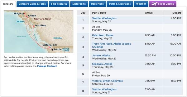 Alaska Inside Passage itinerary with Princess Cruises