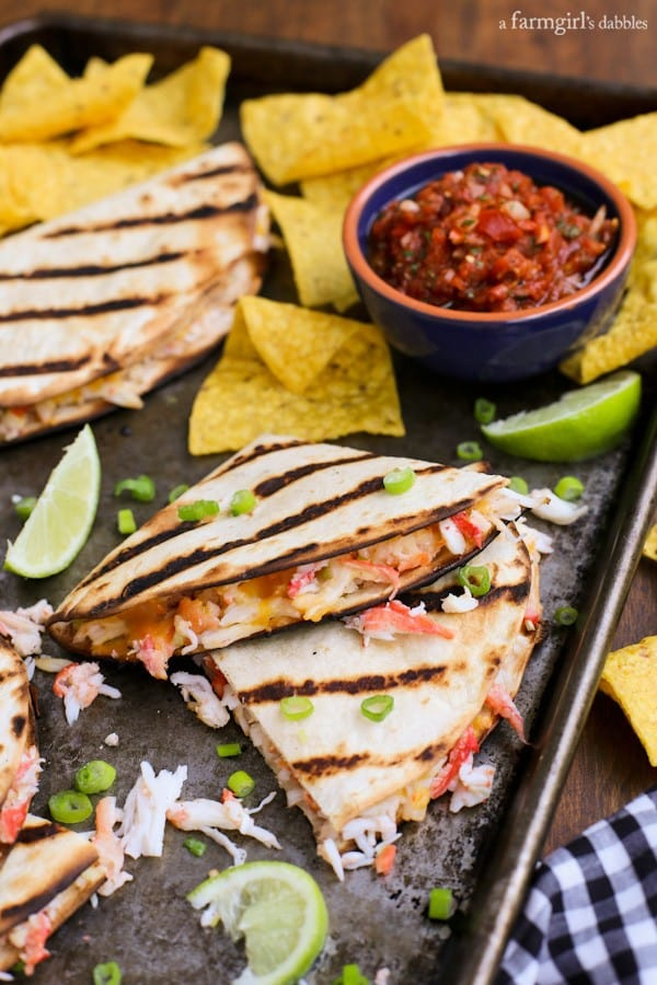 crab quesadillas with chips and salsa