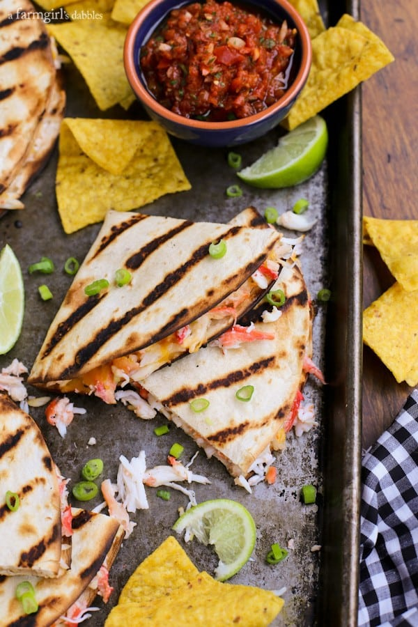 Grilled Crab Quesadillas on a rimmed baking pan