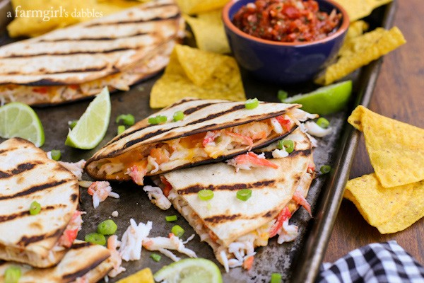 Grilled Crab Quesadillas with lime wedges