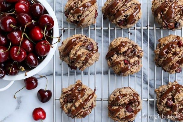 Dark Cherry Scones with Chocolate-Chili Glaze from afarmgirlsdabbles.com