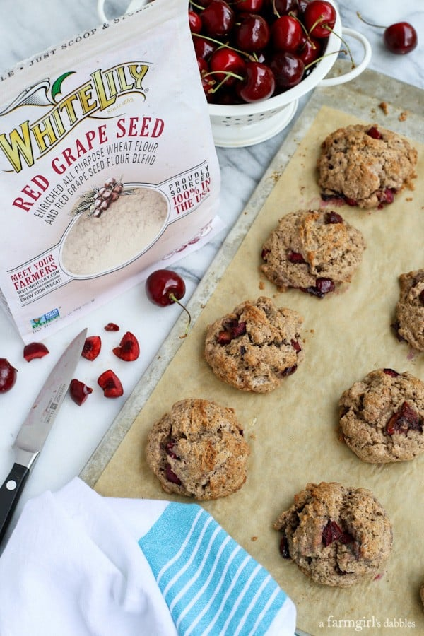 Dark Cherry Scones with white lily red grape seed flour