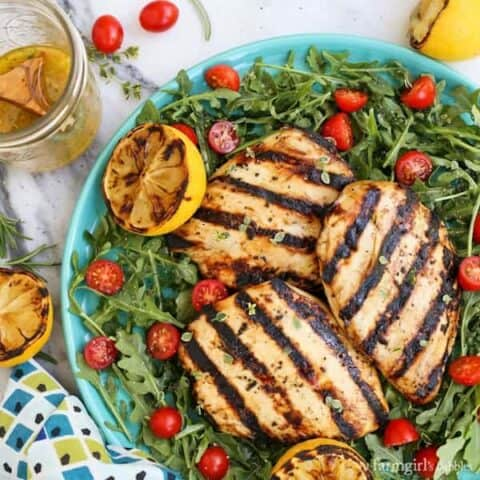 herby lemon grilled chicken breast salad