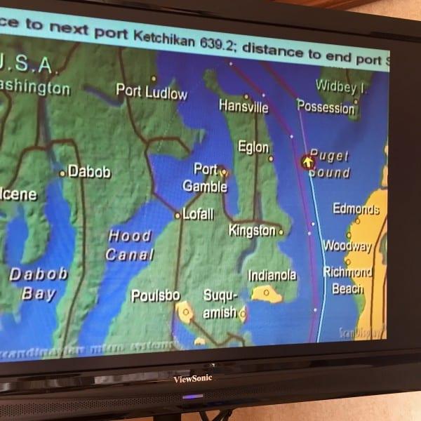 map on Alaska cruise