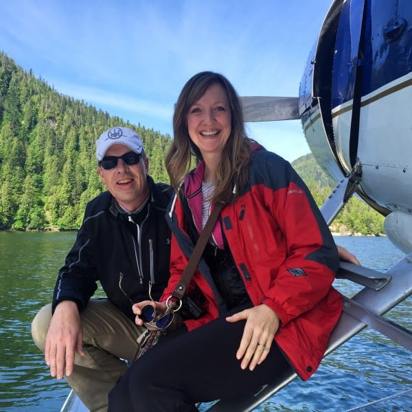 two people on a float plane in Misty Fjords National Monument