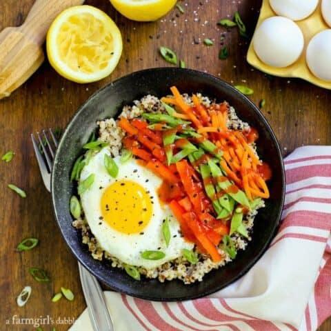 Lemon Quinoa and Egg Bowls with Veggies and Sriracha