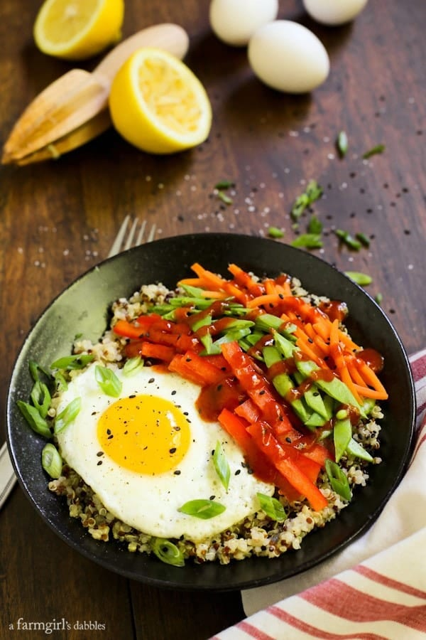 Lemony Quinoa Egg Bowls -- perfect for breakfast, lunch OR dinner!