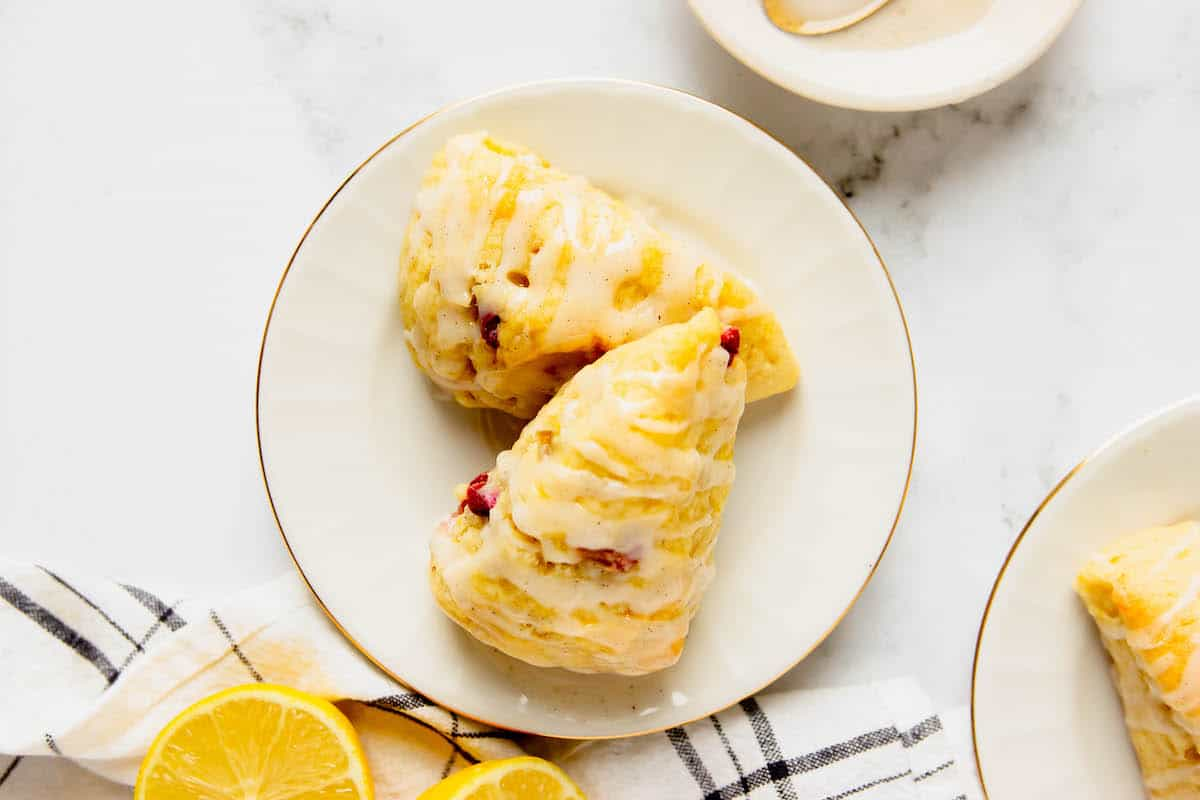 Two rhubarb scones on a plate