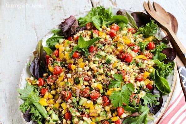 Summer Quinoa and Veggies Salad with Honey-Shallot Vinaigrette from afarmgirlsdabbles.com