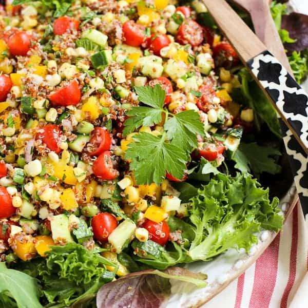 Summer Quinoa and Veggies Salad with Honey-Shallot Vinaigrette • a ...