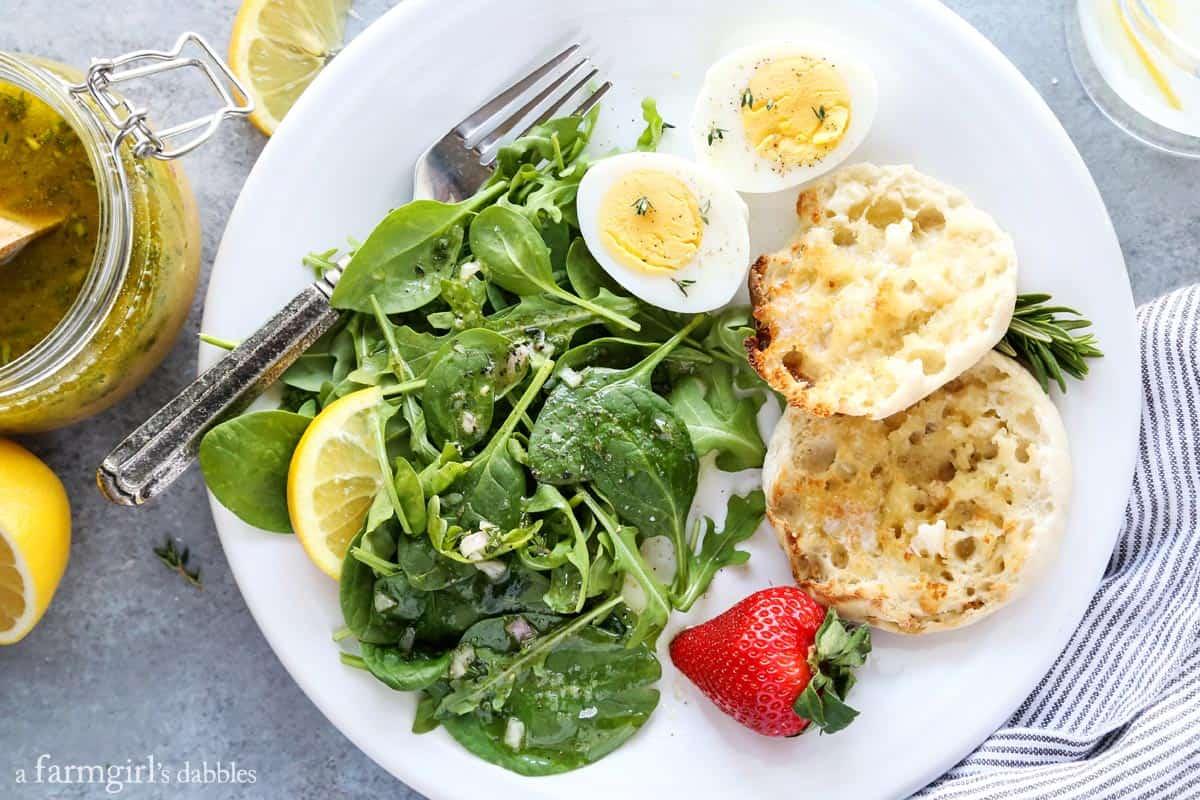 Herby Lemon Vinaigrette over breakfast salad from afarmgirlsdabbles.com