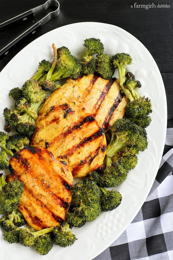 Grilled Chicken Breasts and broccoli on a white plate