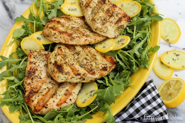 Herbs de Provence Chicken Breasts Grilled Under a Brick from a farmgirlsdabbles.com
