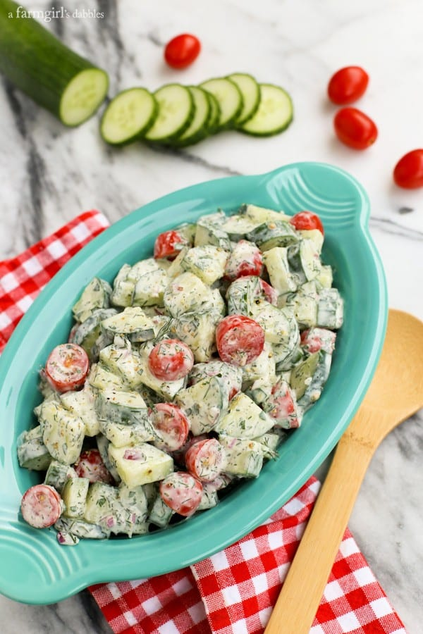 Cucumber and Tomato Salad with Creamy Herb Dressing from afarmgirlsdabbles.com