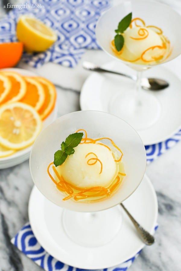 Lemon Sorbet with Candied Orange Peel from afarmgirlsdabbles.com