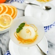 Lemon Sorbet with Candied Orange Peel