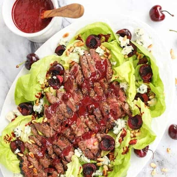Grilled Steak Salad with Cherry-Chipotle Balsamic Vinaigrette from afarmgirlsdabbles.com