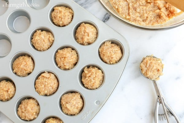 Chicken Meatballs in a mini muffin pan before going in the oven