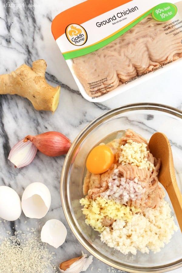 ingredients for Chicken Meatballs with gold'n plump ground chicken