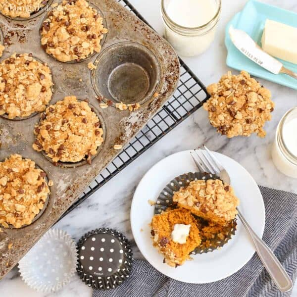 Pumpkin Muffins with Oats and Chocolate Streusel