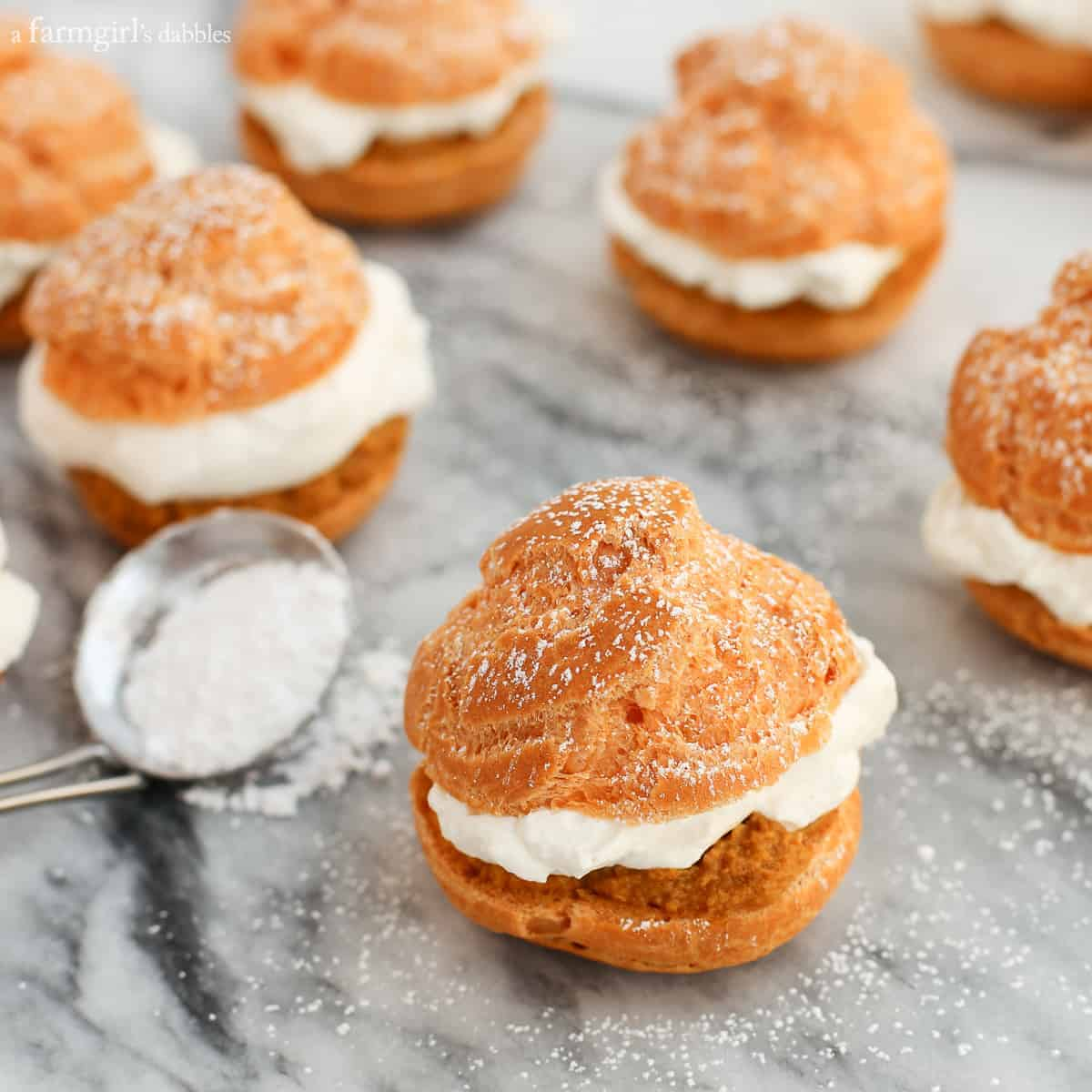 Pumpkin Pie Cream Puffs from afarmgirlsdabbles.com