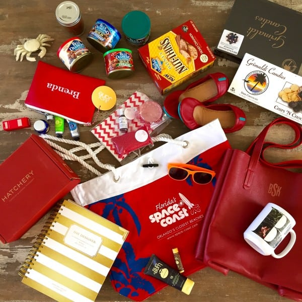 a goodie bag including many different items