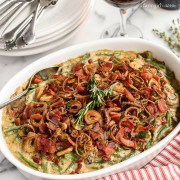 Green Bean Casserole with Bacon and Fried Shallots