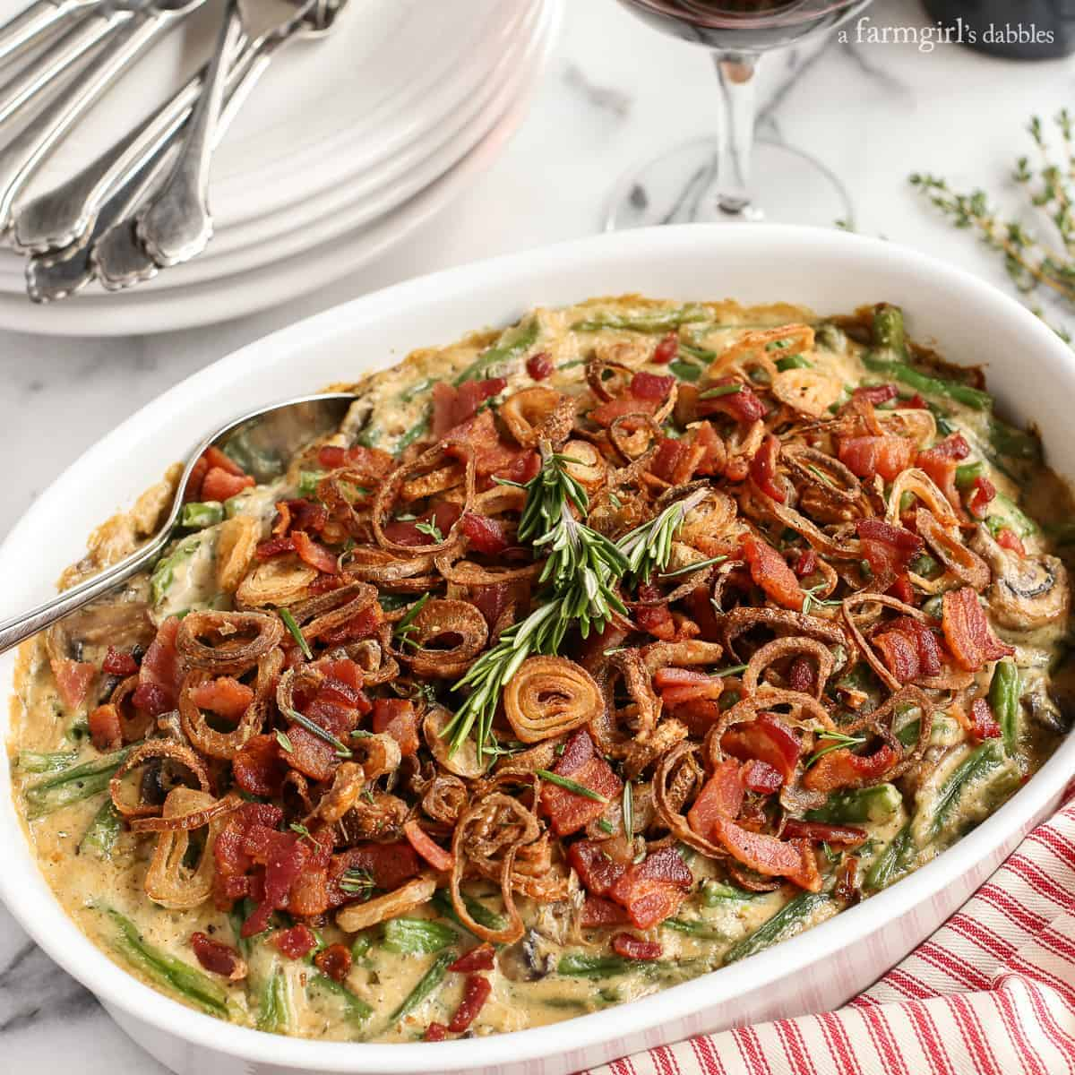 Green Bean Casserole with Bacon and Fried Shallots from afarmgirlsdabbles.com