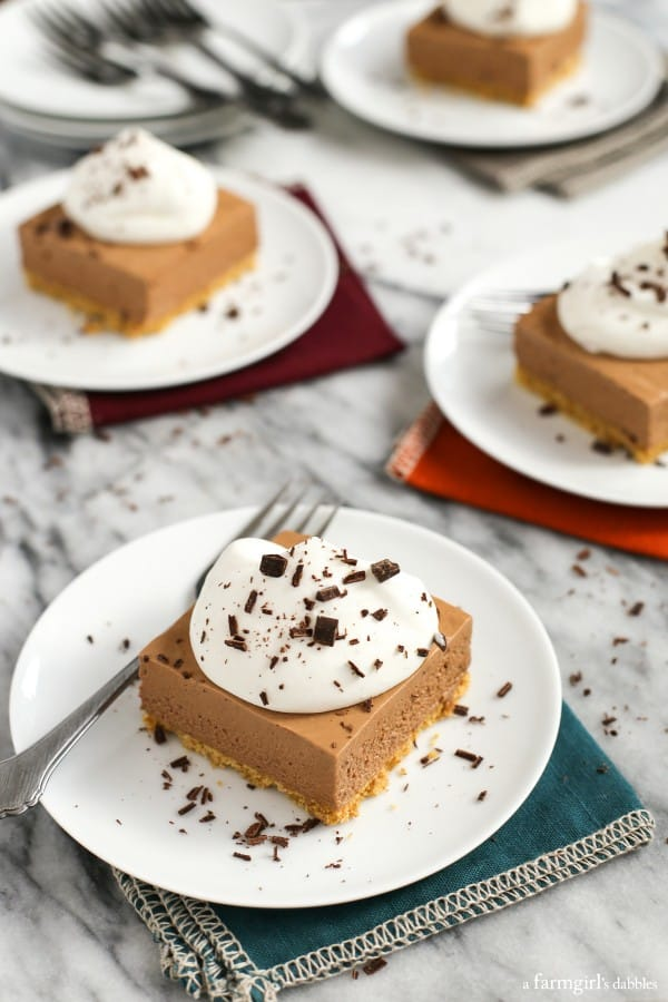 French Silk Pie Bars on white plates