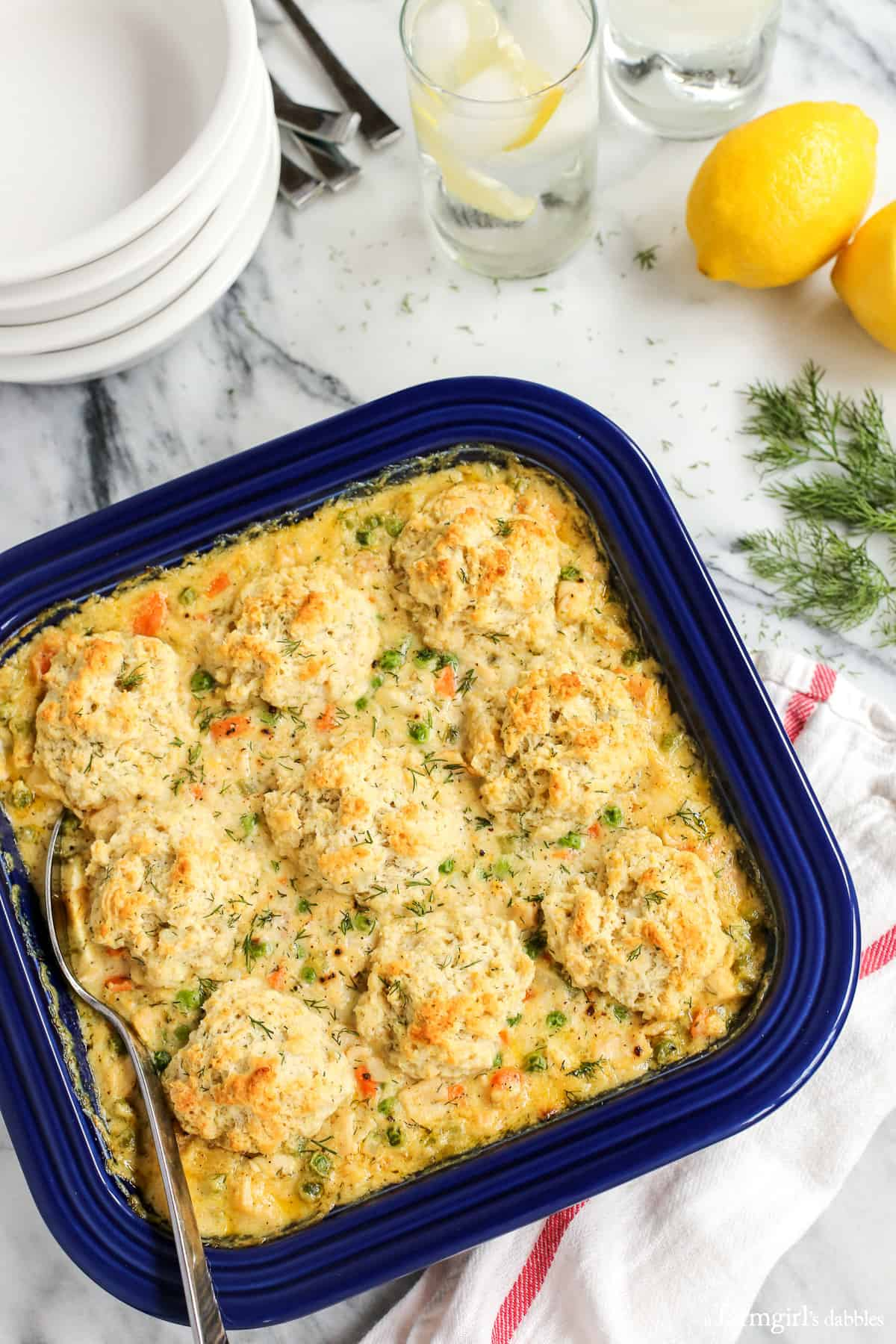 Turkey and Biscuits Casserole with Lemon and Dill from afarmgirlsdabbles.com